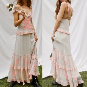 Anthropologie Free People Embroidered Maxi Dress